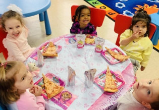 children eating on the table